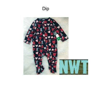NWT Dip Flannel Footie Pajamas Size 6-12 Months